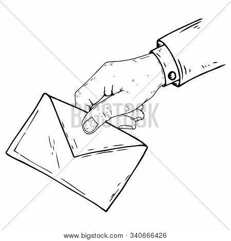 Hand Holds An Envelope Icon. Vector Illustration Male Hand Holds A Sealed Envelope For Writing. Hand