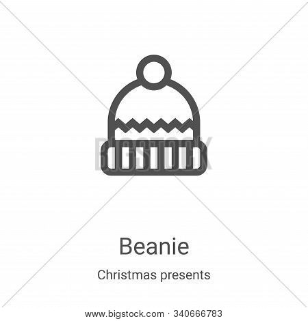 beanie icon isolated on white background from christmas presents collection. beanie icon trendy and