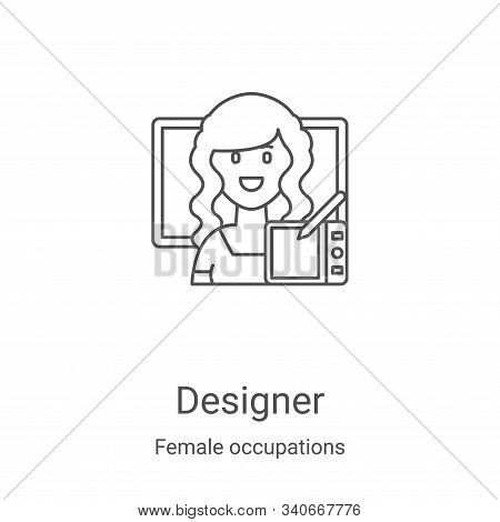 designer icon isolated on white background from female occupations collection. designer icon trendy