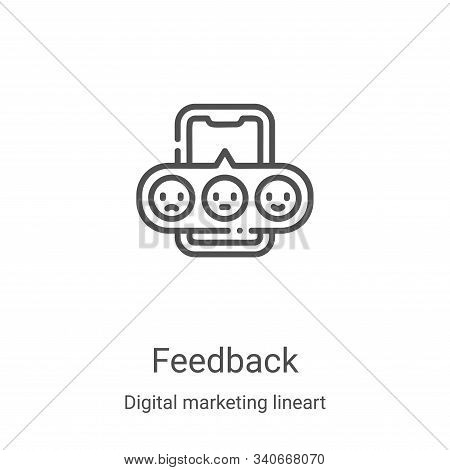 feedback icon isolated on white background from digital marketing lineart collection. feedback icon