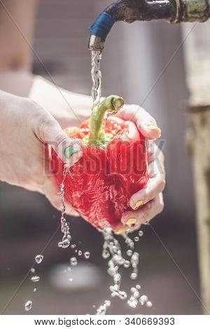 Vegetarian Girl Washes Red Pepper Under Running Water