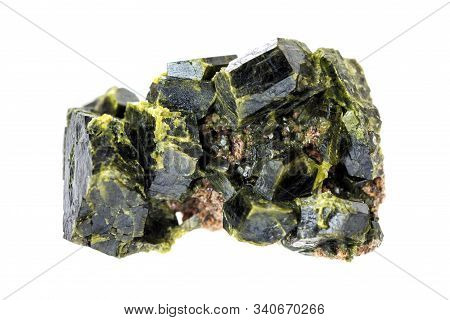 Druse Of Green Epidote Crystals Isolated On A White Background