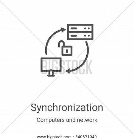 synchronization icon isolated on white background from computers and network collection. synchroniza