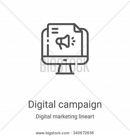 digital campaign icon isolated on white background from digital marketing lineart collection. digita