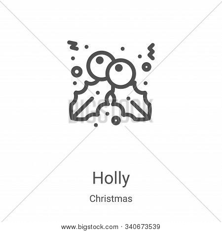 holly icon isolated on white background from christmas collection. holly icon trendy and modern holl