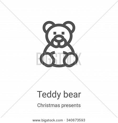 teddy bear icon isolated on white background from christmas presents collection. teddy bear icon tre