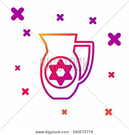 Color Line Decanter With Star Of David Icon Isolated On White Background. Pottery Jug. Organic Produ