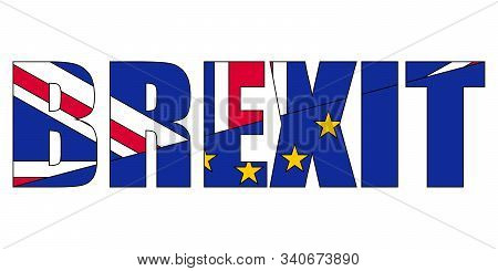 Brexit Concept Referendum On The Uk Withdrawal From The Eu European Union Flags Of The Uk Are Half W
