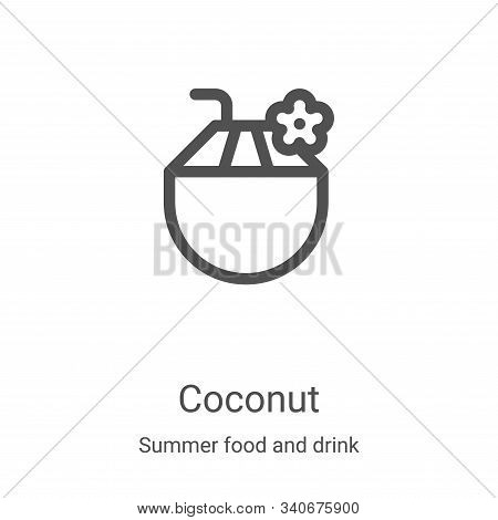 coconut icon isolated on white background from summer food and drink collection. coconut icon trendy