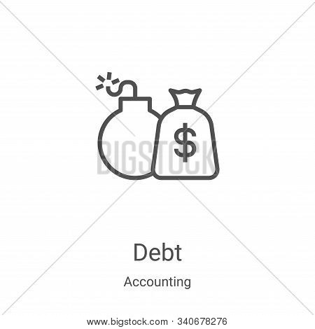 debt icon isolated on white background from accounting collection. debt icon trendy and modern debt