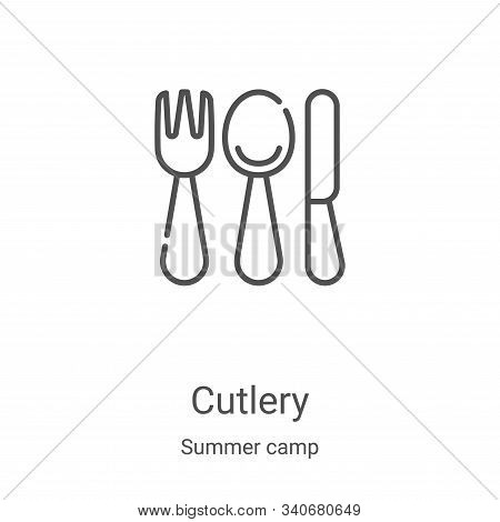 cutlery icon isolated on white background from summer camp collection. cutlery icon trendy and moder
