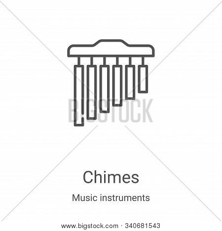 chimes icon vector from music instruments collection. Thin line chimes outline icon vector illustration. Linear symbol for use on web and mobile apps, logo, print media poster
