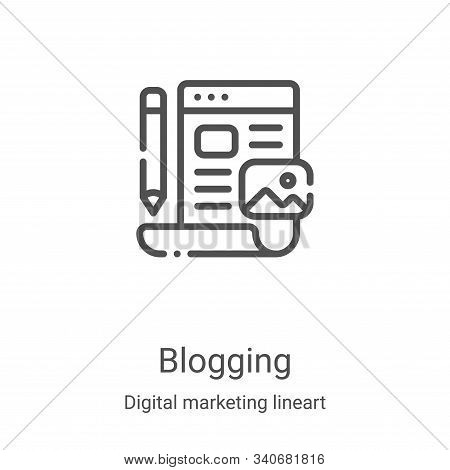 blogging icon isolated on white background from digital marketing lineart collection. blogging icon