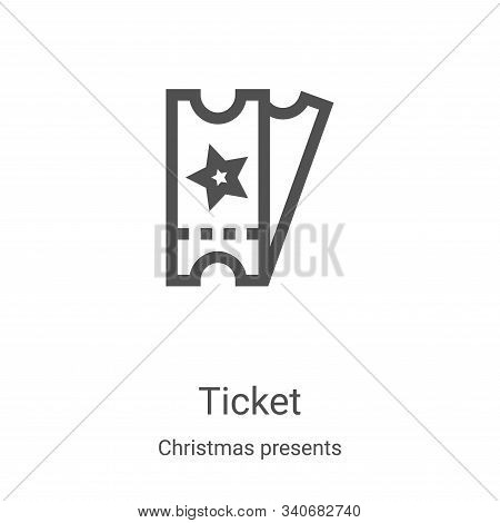 ticket icon isolated on white background from christmas presents collection. ticket icon trendy and