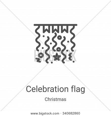 celebration flag icon isolated on white background from christmas collection. celebration flag icon
