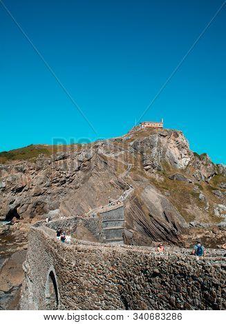 Bermeo, Basque Country / Spain - September 27, 2018: San Juan De Gaztelugatxe, In Biscay.  View Of T
