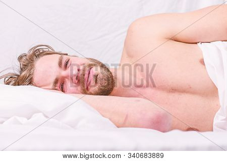Late Morning Overslept. Man Handsome Guy Lay In Bed In Morning. Tips On How To Wake Up Feeling Fresh
