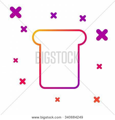 Color Line Bread Toast For Sandwich Piece Of Roasted Crouton Icon Isolated On White Background. Lunc