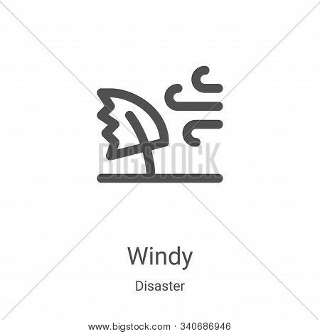 windy icon isolated on white background from disaster collection. windy icon trendy and modern windy