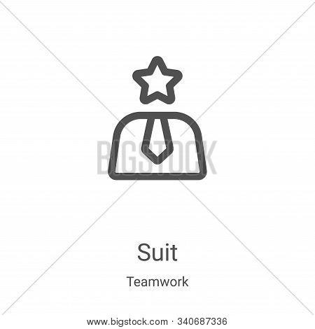 suit icon isolated on white background from teamwork collection. suit icon trendy and modern suit sy