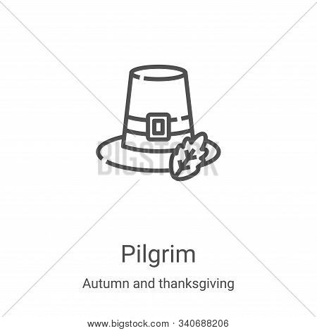 pilgrim icon isolated on white background from autumn and thanksgiving collection. pilgrim icon tren