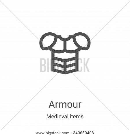 armour icon isolated on white background from medieval items collection. armour icon trendy and mode