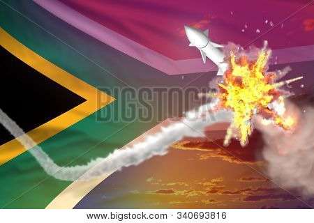 South Africa Intercepted Nuclear Warhead, Modern Antirocket Destroys Enemy Missile Concept, Military