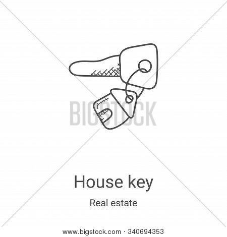 house key icon isolated on white background from real estate collection. house key icon trendy and m