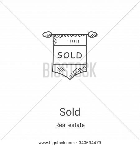 sold icon isolated on white background from real estate collection. sold icon trendy and modern sold