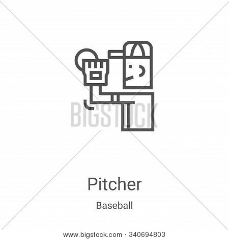 pitcher icon isolated on white background from baseball collection. pitcher icon trendy and modern p