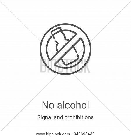 no alcohol icon isolated on white background from signal and prohibitions collection. no alcohol ico