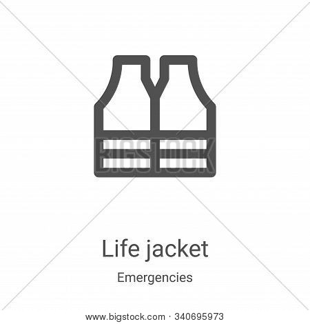 life jacket icon isolated on white background from emergencies collection. life jacket icon trendy a