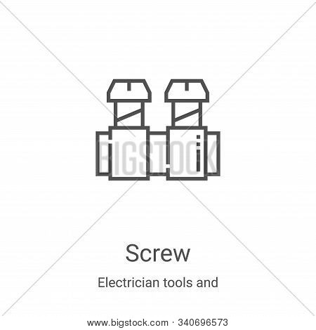screw icon isolated on white background from electrician tools and elements collection. screw icon t