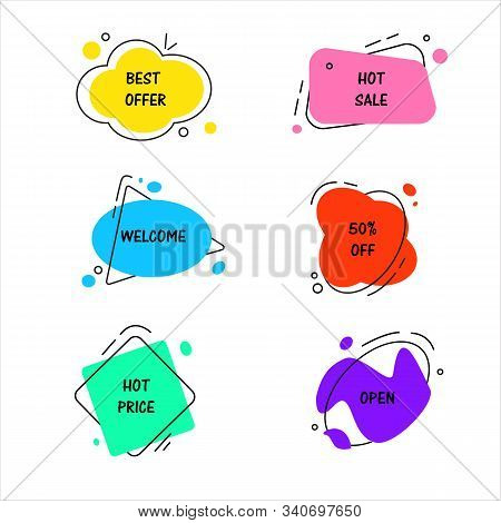 Set Of Flat Vector Geometrical Vintage Colored Banners. Texting Boxes Promotion Concept. Vector Illu