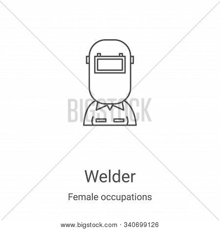 welder icon isolated on white background from female occupations collection. welder icon trendy and