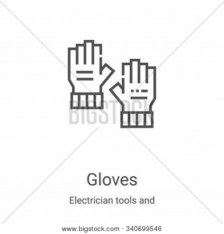 gloves icon isolated on white background from electrician tools and elements collection. gloves icon