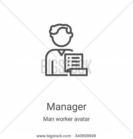 manager icon isolated on white background from man worker avatar collection. manager icon trendy and