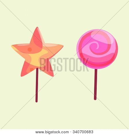 Lollipop And Sweets Candy. Vector Candy Set Includes Spherical Lollipops As Well As Round Swirl Pop.