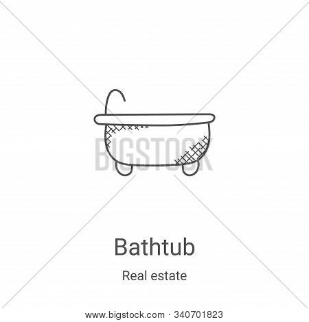 bathtub icon isolated on white background from real estate collection. bathtub icon trendy and moder