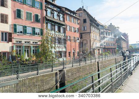 Strasbourg, Alsace / France - November 9, 2018: Morning Walk In The District Called Le Petite France