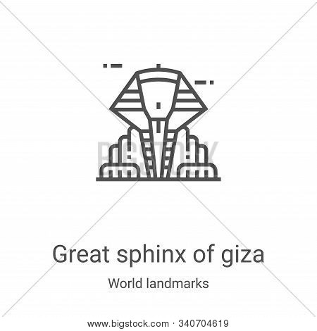 great sphinx of giza icon isolated on white background from world landmarks collection. great sphinx