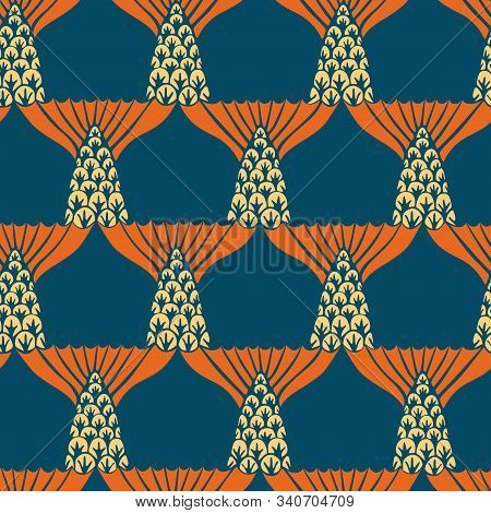 Decorative vector seamless pattern with stylization fishtail poster