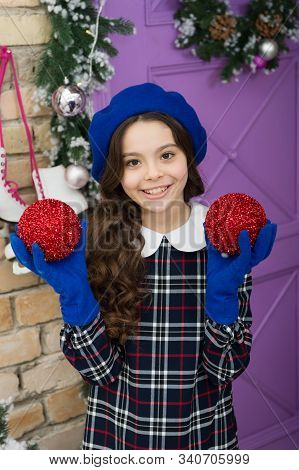 Its Time For Celebration. Happy Girl Celebrate Christmas And New Year. Small Child Hold Xmas Tree Ba