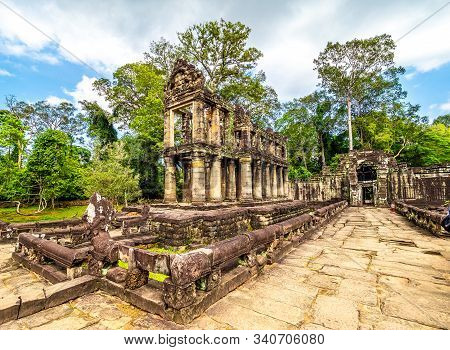 Landscape With Preah Khan Temple, Angkor Thom, Siem Reap,  Cambodia.