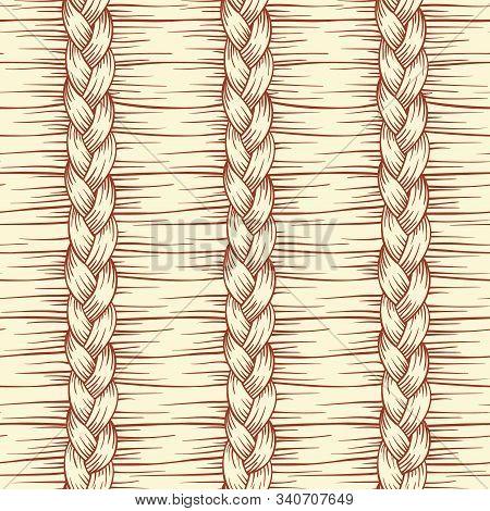 Hand Drawn Abstract Hair Braid Vector Seamless Pattern