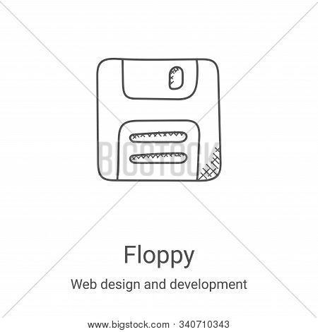 floppy icon isolated on white background from web design and development collection. floppy icon tre