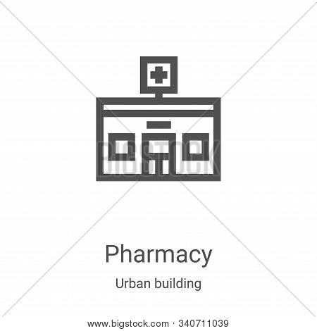 pharmacy icon isolated on white background from urban building collection. pharmacy icon trendy and