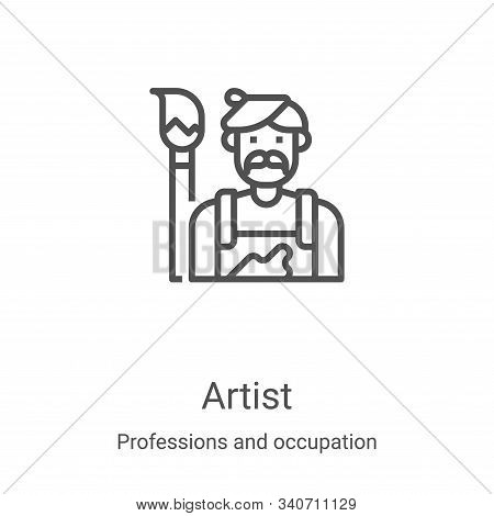 artist icon isolated on white background from professions and occupation collection. artist icon tre