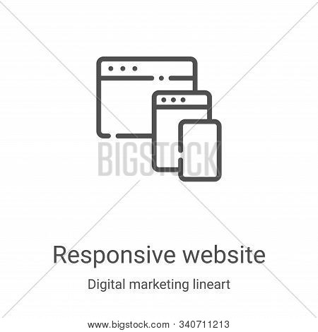 responsive website icon isolated on white background from digital marketing lineart collection. resp