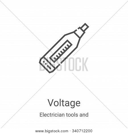 voltage icon isolated on white background from electrician tools and elements collection. voltage ic
